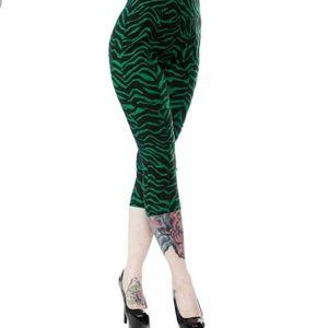 Denim - Sugar Pie Green Zebra Capris by Sourpuss XXXL